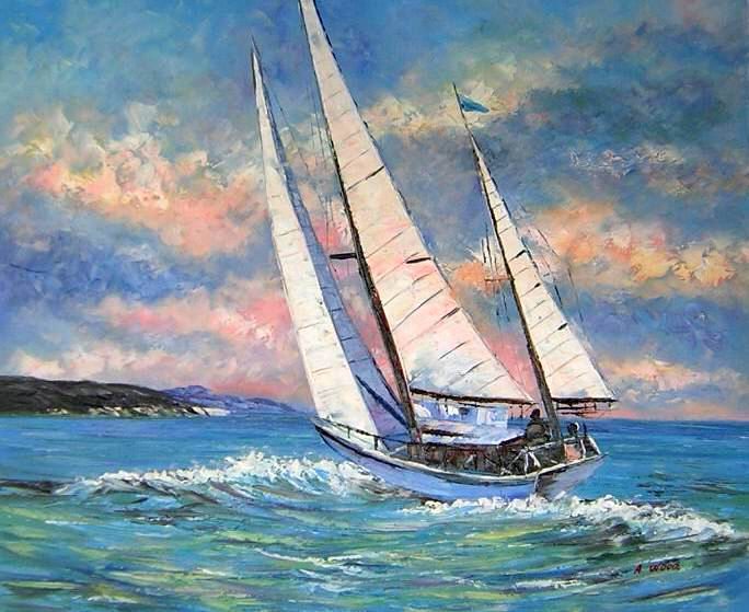 tableau peinture voilier