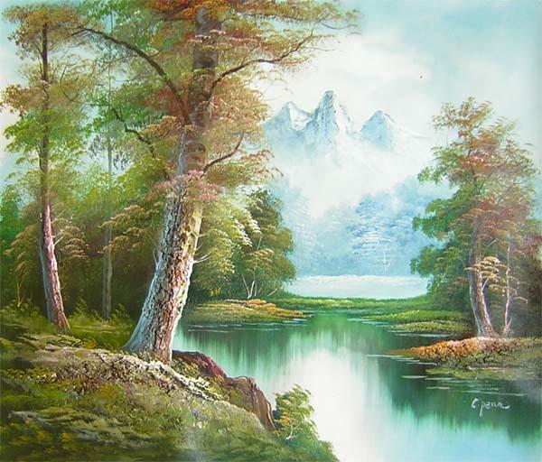 tableau paysage montagne paysages d 39 une montagne en peinture. Black Bedroom Furniture Sets. Home Design Ideas