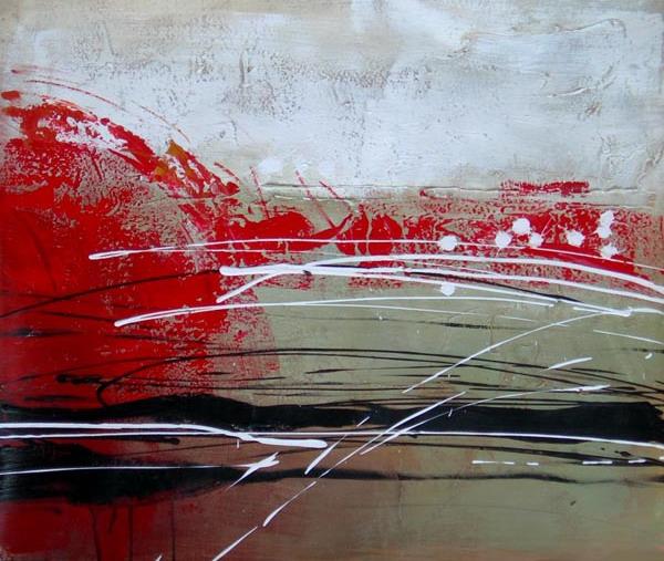Tableau contemporain abstrait rouge noir. Peinture abstraite