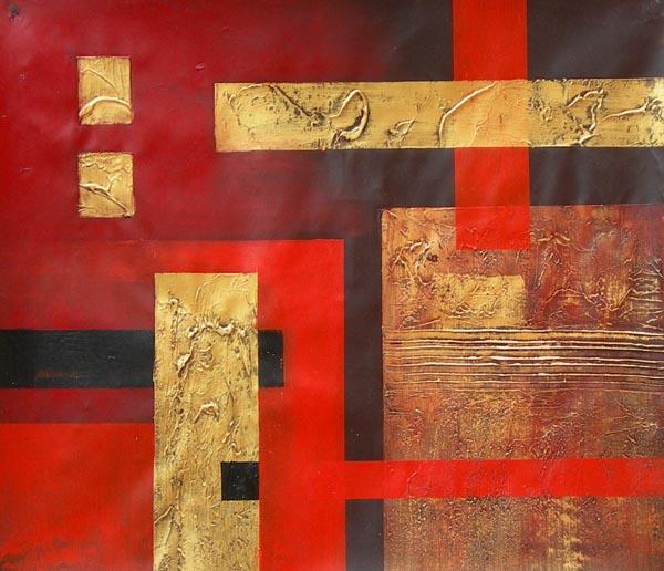 Tableau contemporain abstrait rouge et or. Peinture abstraite