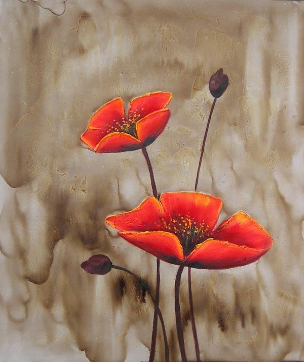 Tableau contemporain coquelicot coquelicots en peinture for Tableau de coquelicot en peinture