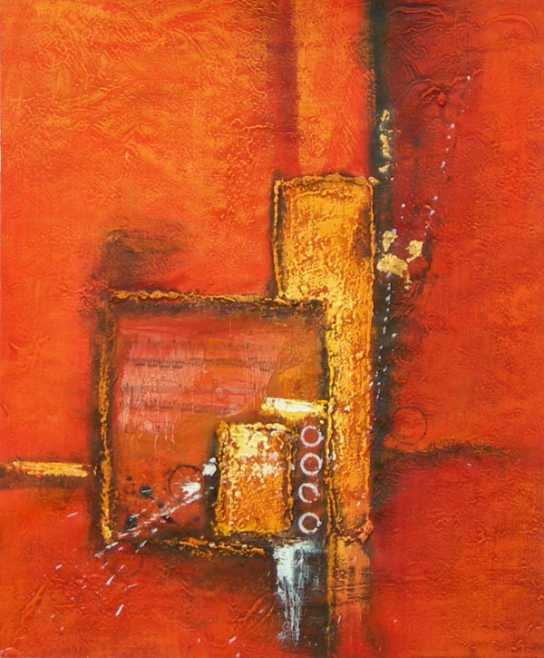 Tableau contemporain abstrait orange tableau peinture for Peinture abstraite moderne