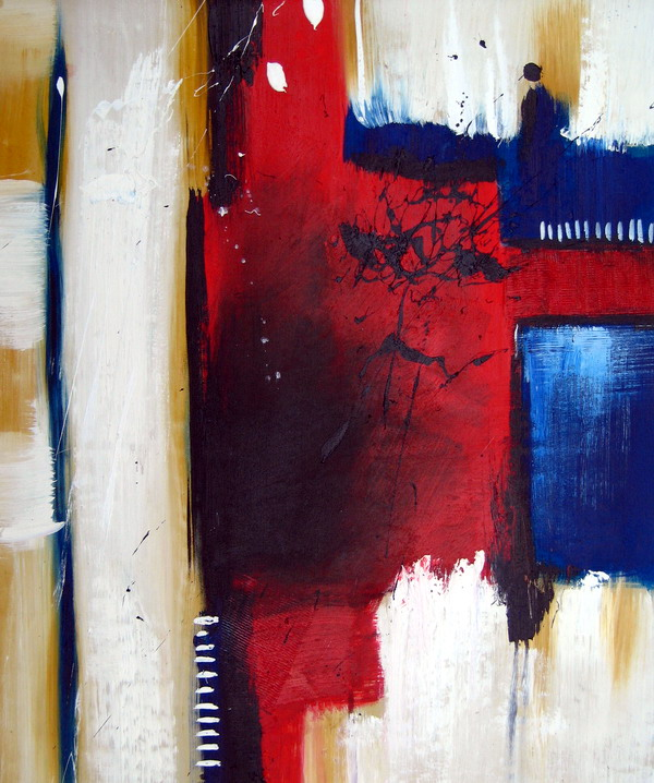 tableau contemporain abstrait rouge bleu peinture toile abstraite. Black Bedroom Furniture Sets. Home Design Ideas