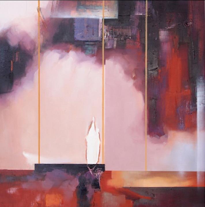 Tableau abstrait rose parme et noir e tableaux for Tableau noir et rose
