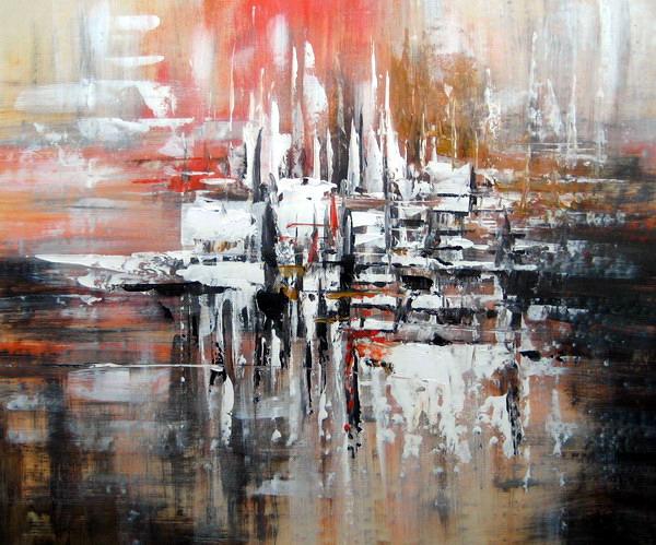 Tableau contemporain abstrait tableau peinture abstraite - Peinture tableau blanc ...
