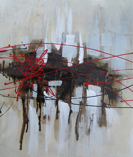tableau abstrait rouge et gris avec effets marron et noir. Black Bedroom Furniture Sets. Home Design Ideas