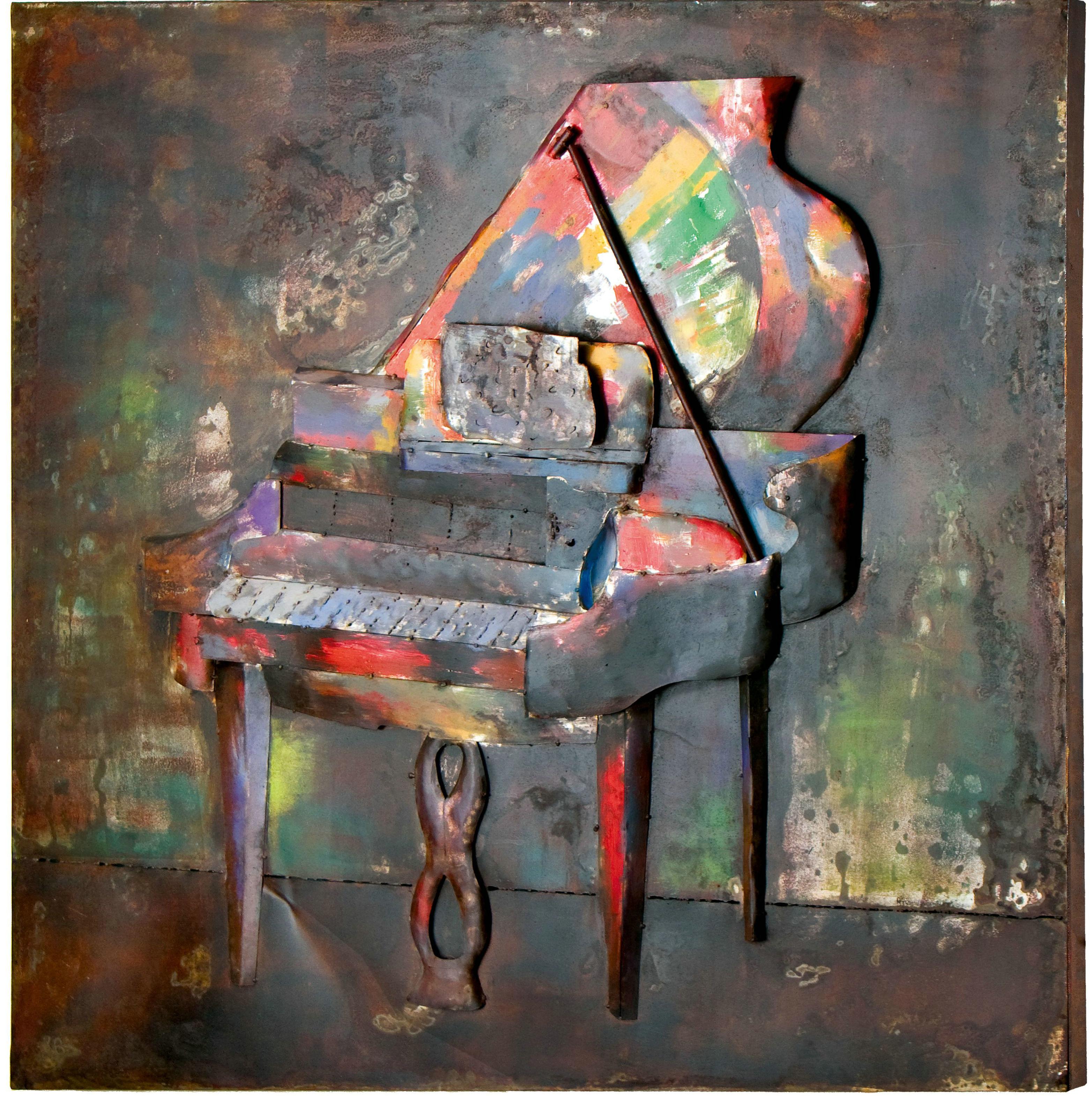 tableau métal 3D le piano