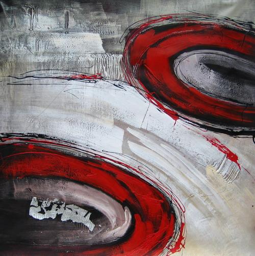 Tableau abstrait contemporain gris blanc et rouge art - Tableau gris et rouge ...