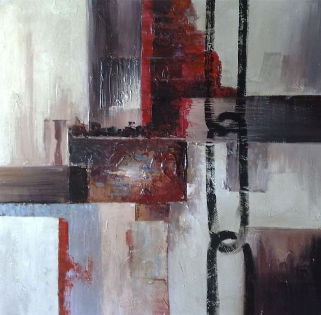 tableau abstrait contemporain gris noir et rouge peint sur toile. Black Bedroom Furniture Sets. Home Design Ideas