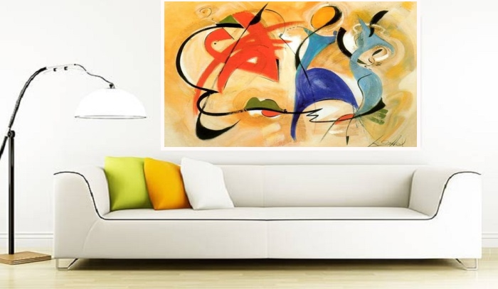 Best tableau contemporain color contemporary transfor - Tableau colore design ...