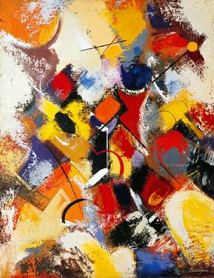 Tableau Jaune Rouge Art Abstrait E Tableaux Fr