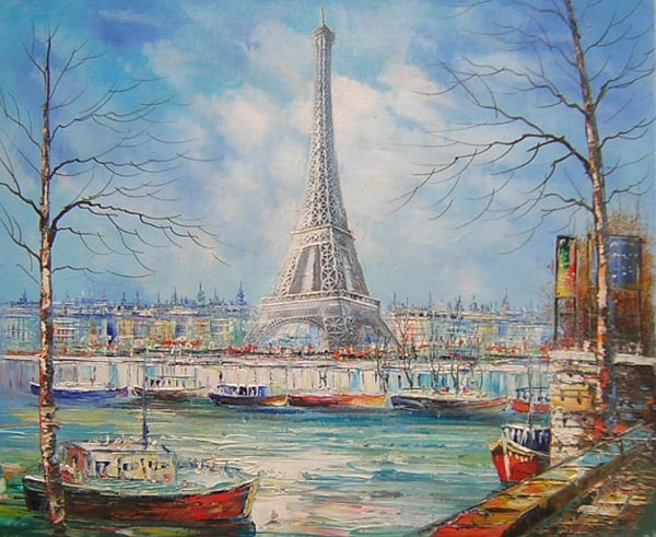 tableau paysage tour eiffel paris paysages paris en peinture. Black Bedroom Furniture Sets. Home Design Ideas
