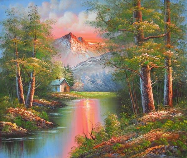 Tableau paysage lever soleil montagne. Paysages en peinture.