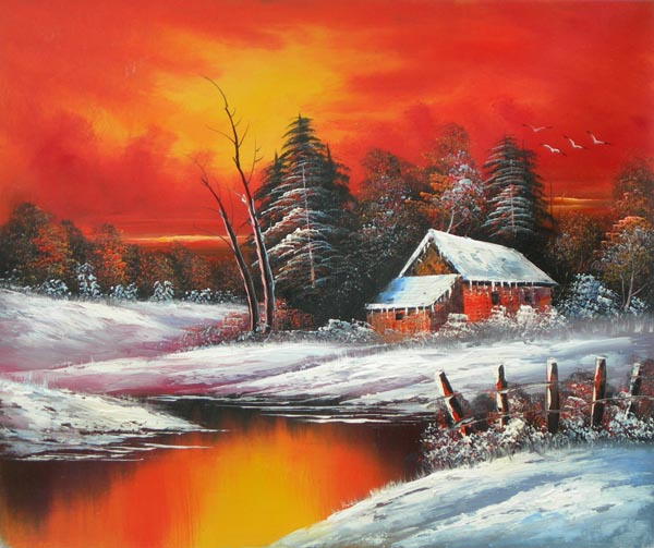 Tableau Paysage Moderne Coucher Soleil Montagne Paysages En Peinture