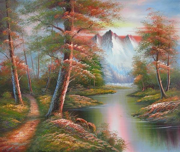 Tableau Lever Soleil Montagne Paysages En Peinture