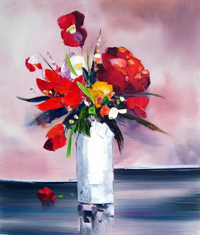 Tableau Contemporain Bouquet Fleurs Rouges Fleurs Rouges En Peinture