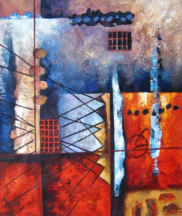 tableau contemporain abstrait rouge bleu e tableaux. Black Bedroom Furniture Sets. Home Design Ideas