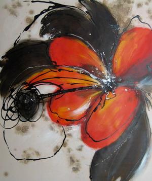 tableau contemporain fleur orange fleurs rouges en peinture. Black Bedroom Furniture Sets. Home Design Ideas