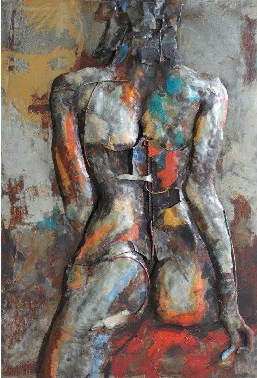 Tableau métal 3D femme vue de dos